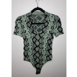 Wolford Velvet Mix Snake V Neck Plunge Bodysuit